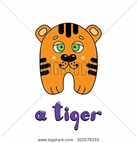 Cute Cartoon Little Tiger Cub With The Inscription: I Am A Tiger. Vector Cartoon Style Illustration