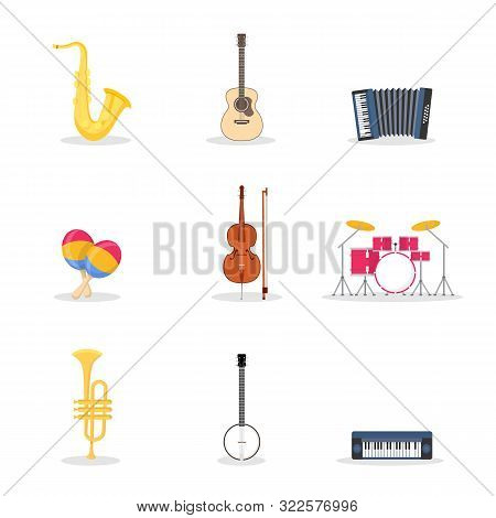 Musical Instruments Vector Illustrations Set. Drum Kit, Percussion. Electric Synthesizer, Acoustic G