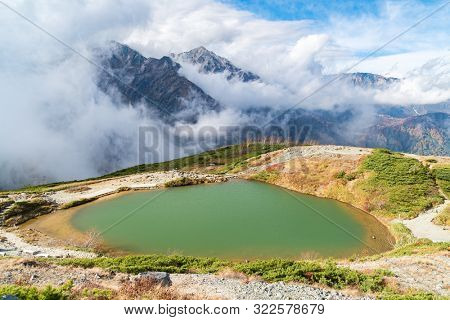 Landscape of Autumn Fall of Hakuba Valley and lake in Nagano Chubu Japan