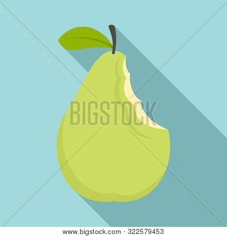 Bite Pear Icon. Flat Illustration Of Bite Pear Vector Icon For Web Design