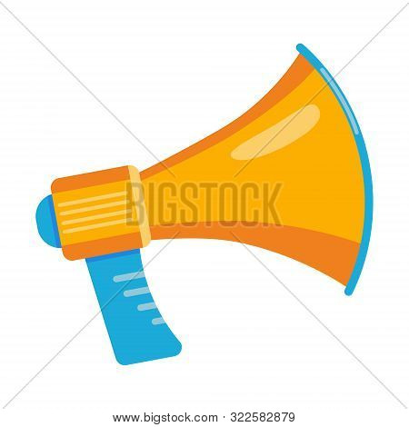 Colorful Megaphone Flat Style Design Vector Illustration Icon Sign Isolated On White Background. The