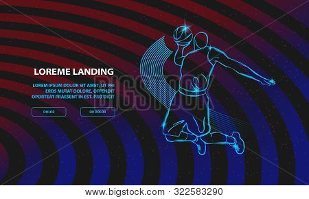 Basketball Slam Dunk By Basketball Player. Vector Sport Background For Landing Page Template.