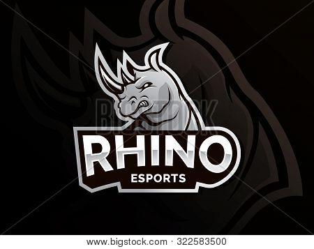 Rhino Mascot Logo Sport Team. Modern Illustration Concept For Badge And Emblem. Mascot Sport Team Ba