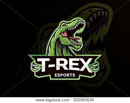 T-rex Head Mascot Sports Logo. T Rex Head Mascot Sports Emblem Illustration With Hand. Tyrannosaur L