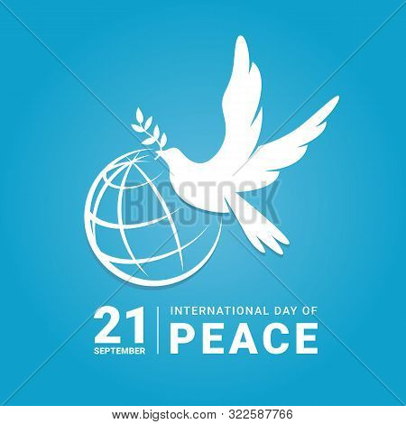 International Peace Day - White Dove With Leaf And Line World Sign On Blue Background Vector Design