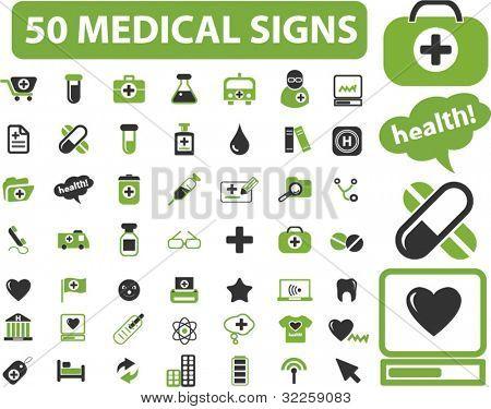 50 medical signs. vector