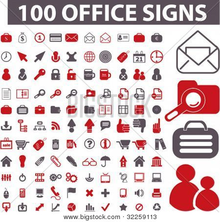 100 professional office signs. vector