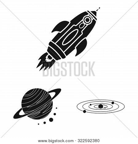 Vector Illustration Of Colonization And Sky Sign. Set Of Colonization And Galaxy Stock Symbol For We