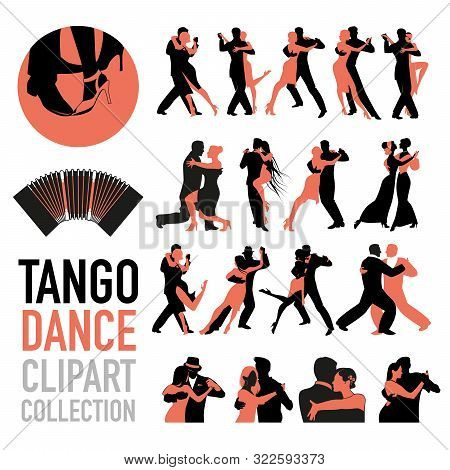 Tango Dance Clipart Collection. Set Of Couples Of Tango Dancers Isolated On White Background.