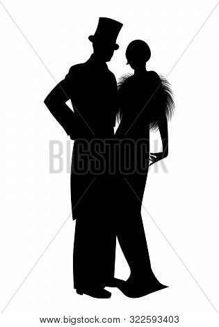 Elegant Silhouettes Of Couple Wearing Retro Style Party Clothes. Man In Top Hat And Lady With Long D