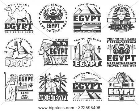 Egypt Travel And Cairo Landmarks Icons. Vector Ancient Egyptian Pharaoh Pyramids, Sphinx And Mummy,