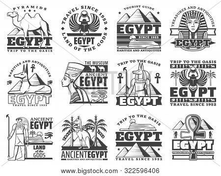 Egypt Travel And Cairo Landmarks Icons. Vector Ancient Egyptian Pharaoh Pyramids, Sphinx And Mummy,