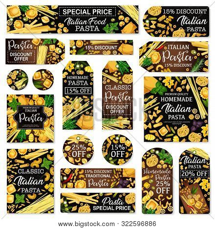Italian Pasta And Cuisine Traditional Food Store Discount Price Tags. Vector Spaghetti, Penne And Fu