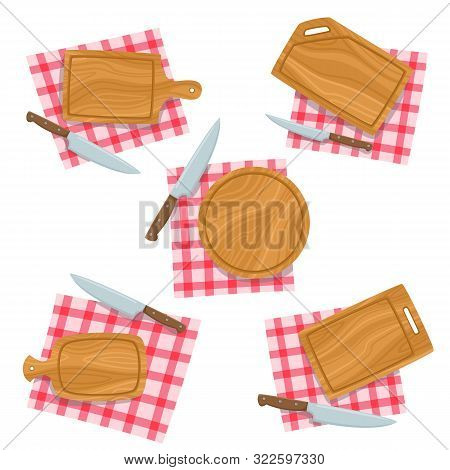 Cartoon Set With Cutting Board, Knife, Napkin Isolated On White