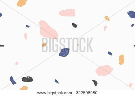 Terrazzo Modern Vector Seamless Pattern. Granite Fragments, Irregular Shapes Abstract Backdrop. Chao