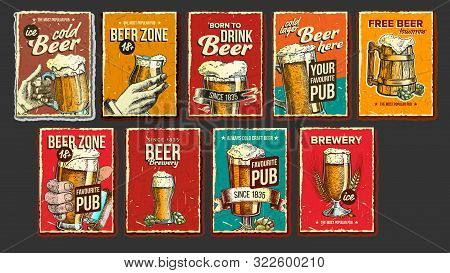 Beer Collection Advertising Poster Set Vector. Wooden And Glass Cups, Green Hops And Spikelets Wheat
