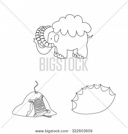 Isolated Object Of Primitive And Archeology Sign. Collection Of Primitive And History Stock Vector I