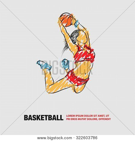 Basketball Slam Dunk By Basketball Girl Player. Vector Outline Of Soccer Player With Scribble Doodle