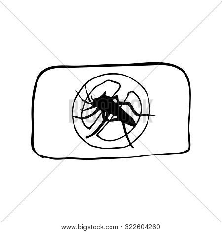 Mosquito Plate Or Tablet For Electric Fumigator With Crossed Out Black Insept Silhouette. Hand Drawi
