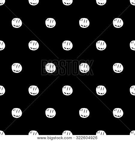 Abstract Polka Dot Pattern With Hand Drawn Dots. Cute Vector Black And White Polka Dot Pattern. Seam