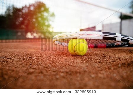 Tennis Racket. Close Up View Of Tennis Racket And Balls On The Tennis Court. Sport, Recreation Conce