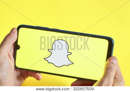 Montreal, Canada - August 20, 2019 - Snapchat Application On An Android Smartphone. Snapchat Is A Mo