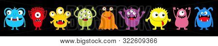 Happy Halloween. Monster Colorful Round Silhouette Icon Set Line. Eyes, Tongue, Tooth Fang, Hands Up