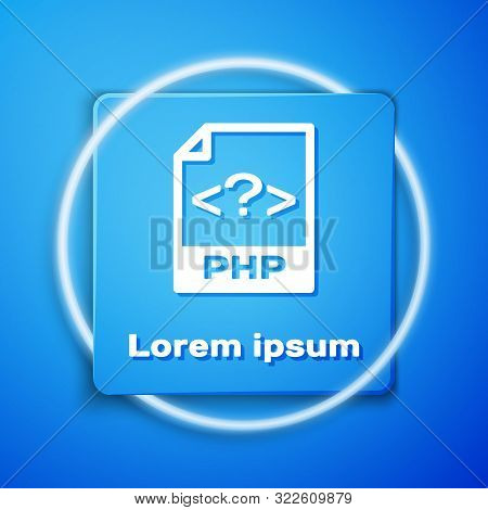 White Php File Document. Download Php Button Icon Isolated On Blue Background. Php File Symbol. Blue