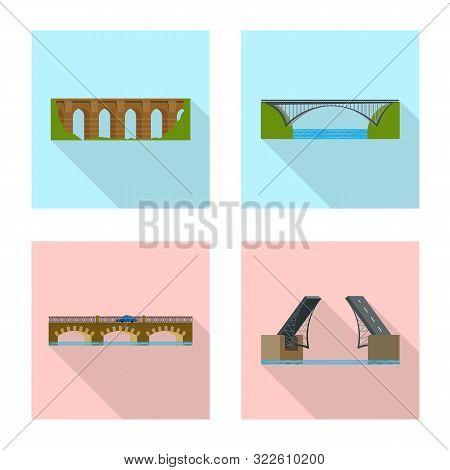 Isolated Object Of Bridgework And Bridge Icon. Collection Of Bridgework And Landmark Stock Symbol Fo