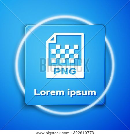 White Png File Document. Download Png Button Icon Isolated On Blue Background. Png File Symbol. Blue