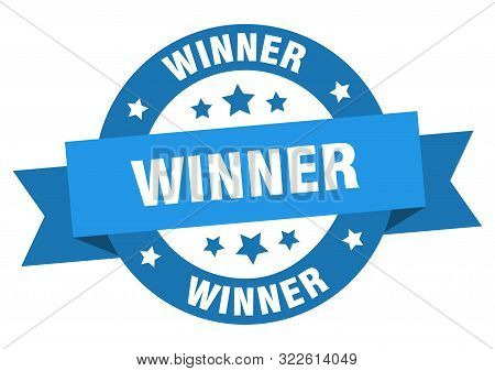 Winner Ribbon. Winner Round Blue Sign. Winner