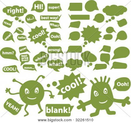 eco chat & idea signs & bubbles, vector