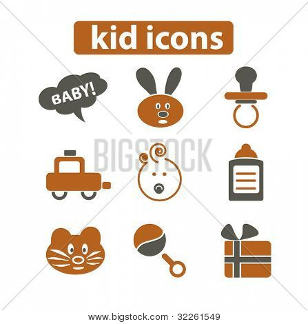 kid icons, vector