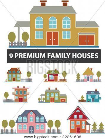 9 premium family houses, vector