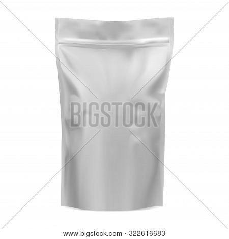 Coffee Bag Mockup. Food Foil Pouch. 3d Vector Pack. Grayscale Sachet For Cocoa Or Chocolate Stand Is
