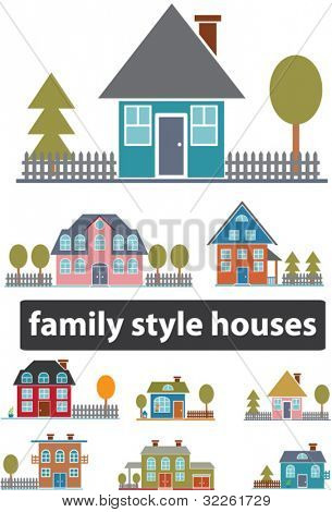 family houses, buildings icons, signs, vector illustations