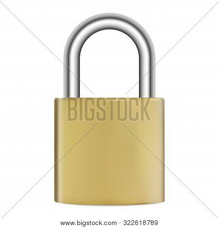 Padlock Isolated. Realistic Golden Metal Lock. Vector Illustration. Silver Steel Hook Secure Mechani