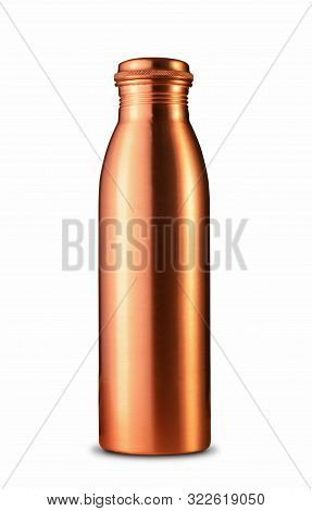 Traditional Indian Copper Mineral Water Bottle Isolated On White Background