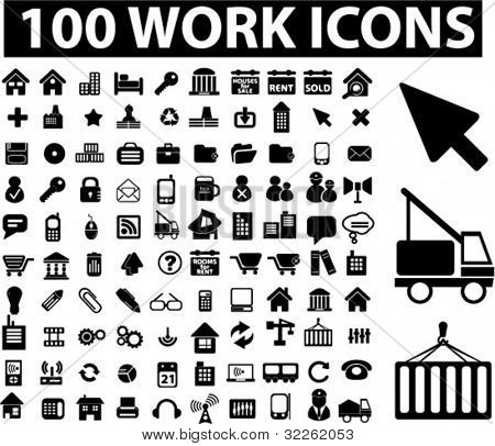 100 work icons, vector