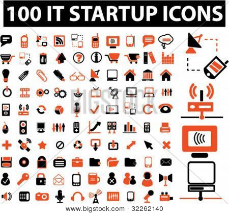 100 it startup icons, signs, vector illustrations