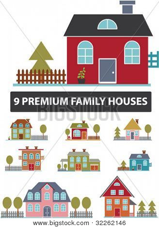 9 family premium houses icons, signs, vector illustrations