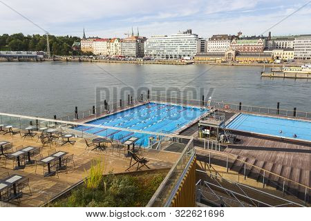 Helsinki, Finland - September 3, 2019: Allas Sea Pool With The View On The Center Of Helsinki Near S