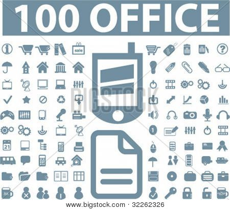100 office icons, signs, vector illustrations