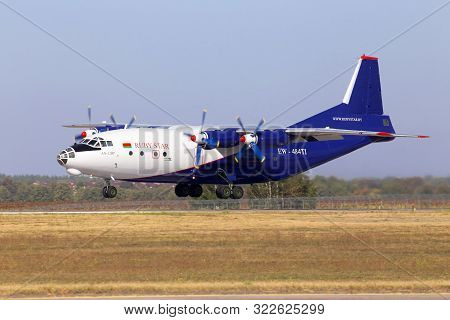 Borispol, Ukraine - September 10, 2019: Ew-484ti Ruby Star Airways Antonov An-12bp Four-engined Turb