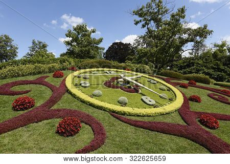 Geneva / Switzerland - July 17 2019 : New Design Of The Colorful Swiss Horology Symbol Floral Clock