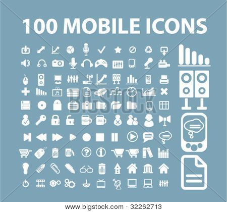 100 mobile icons, vector