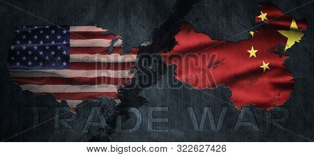 Political Relationships. American And Chinese Flag Divided Diagonally. Partnership And Conflicts. Tr