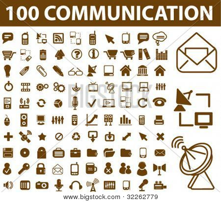 100 communication icons, signs, vector illustrations poster
