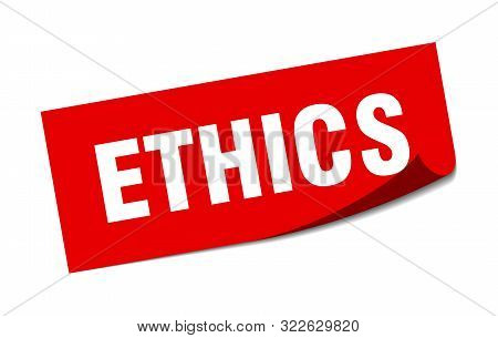 Ethics Sticker. Ethics Square Isolated Sign. Ethics