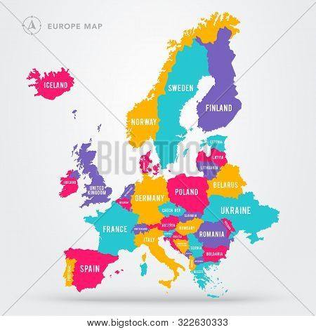 Vector Illustration Political Map Of Europe. European Continent In Four Colors With Country Name Lab
